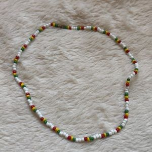 White, Red, Yellow, Green Beaded Necklace